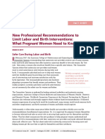 Professional Recommendations to Limit Labor and Birth Interventions