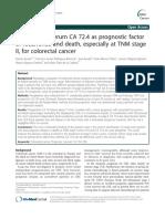 Preoperative Serum CA 72.4 as Prognostic