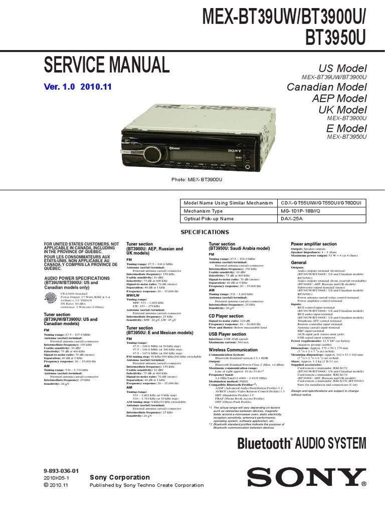 Sony Mex-bt39uw Mex-bt3900u Mex-bt3950 Sm   Antenna (Radio)   Radio