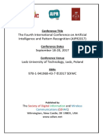 The Fourth International Conference on Artificial Intelligence and Pattern Recognition (AIPR2017)