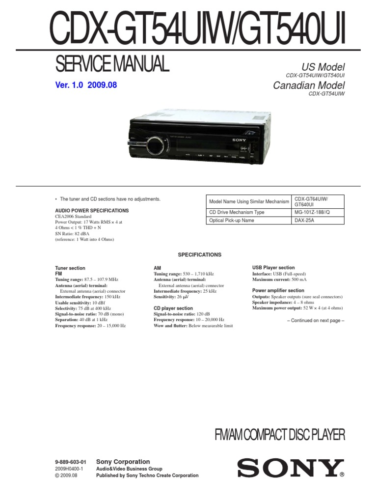 Sony Cdx Gt54uiw Wiring Diagram