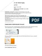 WINDOWS 7 Enable Built-In Administrator Account and CTRL ALT DEL