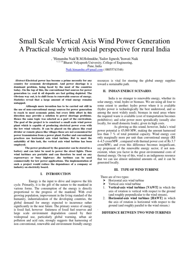 Small Scale Vertical Axis Wind Power | Wind Turbine | Wind Power
