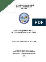 Marisol Melgarejo Altura - Las Licencias Médicas y Su Utilización Fraudulenta CHILE