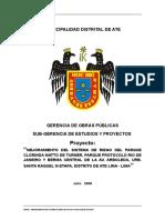 Mejoramiento Del Sistema de Riego Urb. Santa Raquel III Etapa