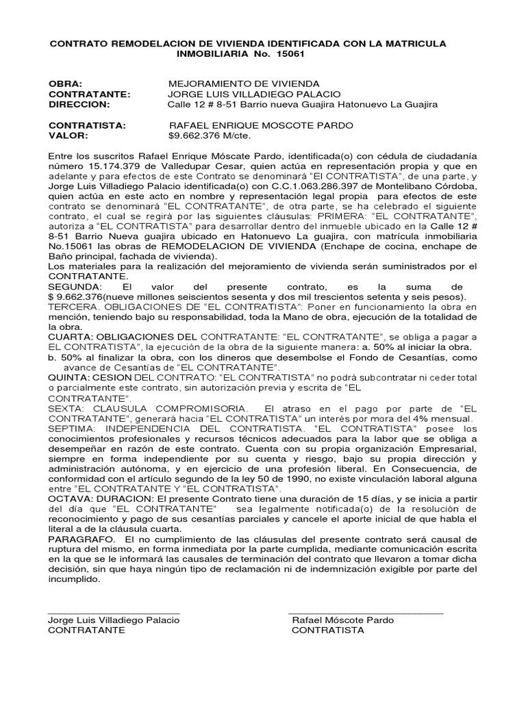 Contrato de Remodelacion