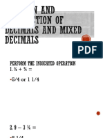 Addition and Subtraction of Decimals and Mixed Decimals