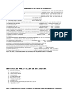 Lista de Materiales Faltantes en Taller de Upa
