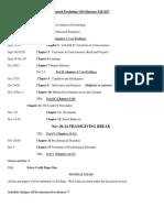 Psyc 1101 Itinerary Fall 2017