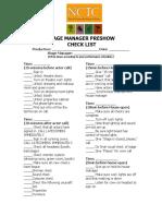 SM Pre-Show Check List Example 1