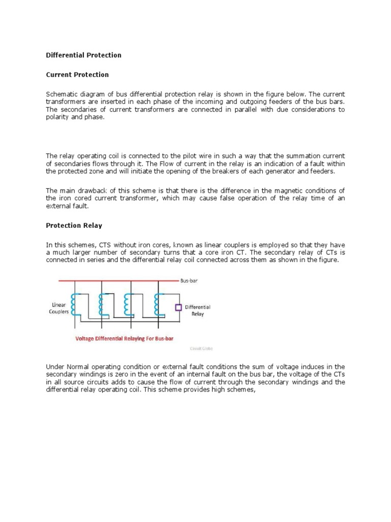 Busbar Differential Concept Ct Wiring Diagram