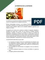 Características de La Nutrición