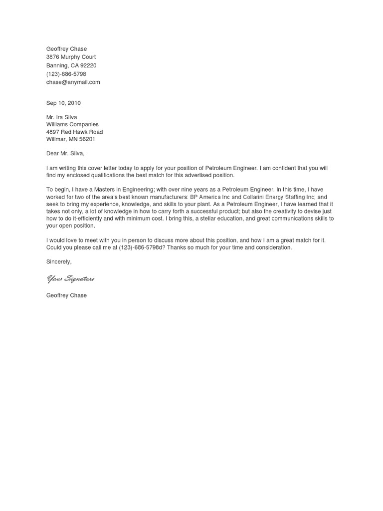 contoh cover letter petroleum engineering.docx | Chemical ...