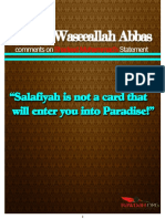 Sheikh Waseeallah Abbas Comments on Shadeeds Muhammads Statement Salafiyah is Not a Card That Will Enter You Into Paradise
