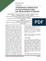 Removal of Diclofenac Sodium From Aqueous Environments Using Heterogeneous Photo-catalysis Treatment