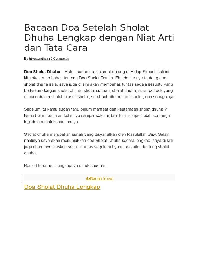 Bacaan Doa Setelah Sholat Dhuha Lengkap Dengan Niat Arti