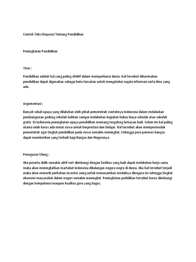 1 Contoh Teks Eksposisi Tentang Pendidikan