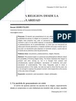 PENSAR LA RELIGIÓN DESDE LA POSTSECULARIDAD