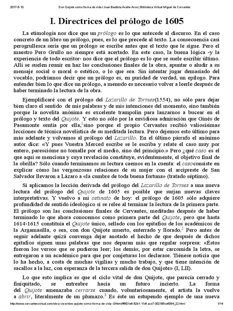 Don Quijote Como Forma De Vida Juan Bautista Avalle Arce Biblioteca Virtual Miguel De Cervantes Don Quijote Miguel De Cervantes