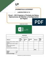 Lab 01 - Excel 2013 - Ingreso y Formato de Datos Operaciones de Edición y Condiguración de Página
