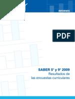Saber 5o y 9o 2009 Resultados de Encuestas Curriculares