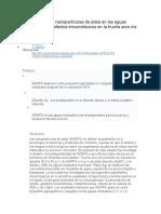 El Destino de Las Nanopartículas de Plata en Las Aguas Residuales y Los Efectos Inmunotóxicos en La Trucha Arco Iris