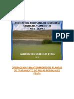 Inquietudes sobre las Plantas de Tratamiento Bolivia - ABIS 2012
