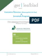 Executive Position Profile - Jeremiah Program - MSP - Executive Director