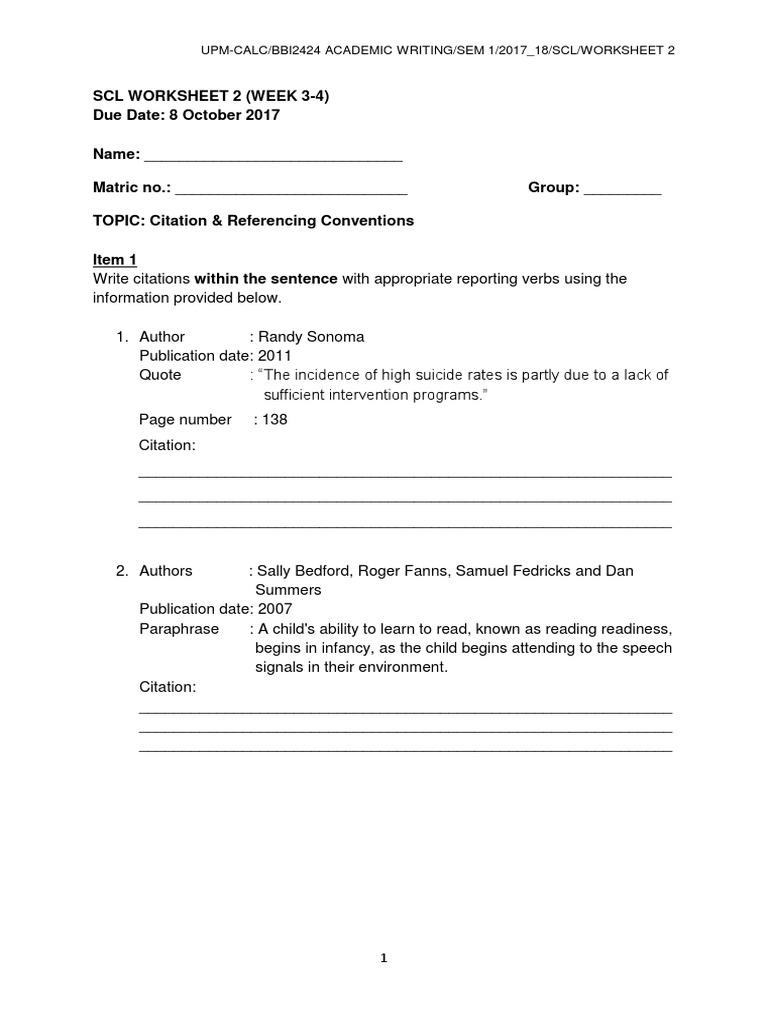 Bbi2424 Scl Worksheet 2 Week 3 4 Citation & Referencing