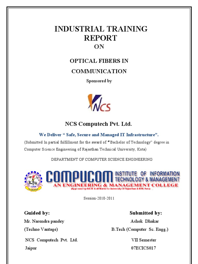 Industrial Training Report On Optical Fiber In Communication Acd To Cables Plus Usa Optic Glass Attributes And Characteristics Rtukota Cable