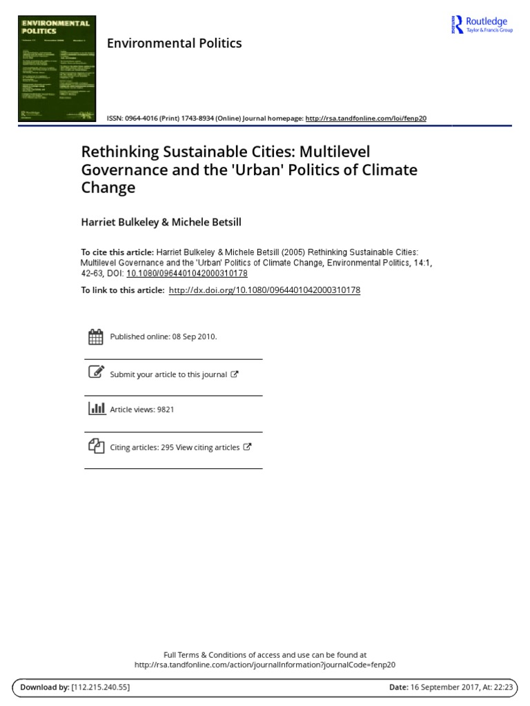 Rethinking Sustainable Cities Multilevel Governance and the