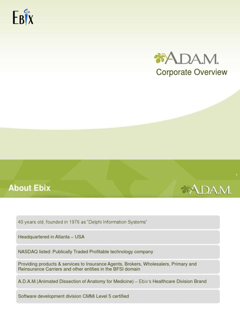 Ebix Adam Corporate Overview Public Health Health Care