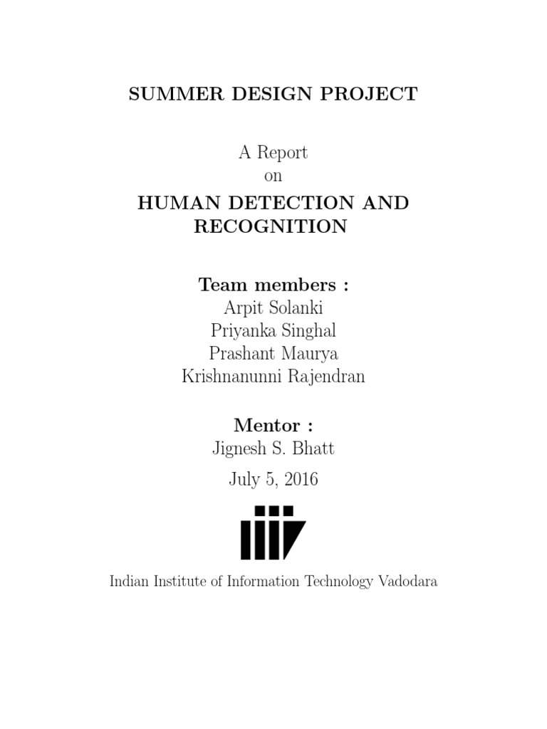 Human Detection Andarecognition | Support Vector Machine
