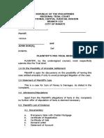 Pre Trial Brief for sum of money