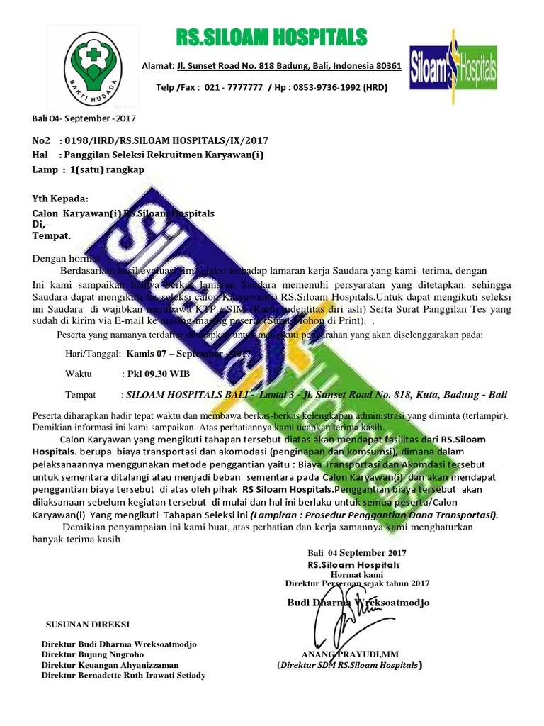 Surat Panggilan Rs Siloam