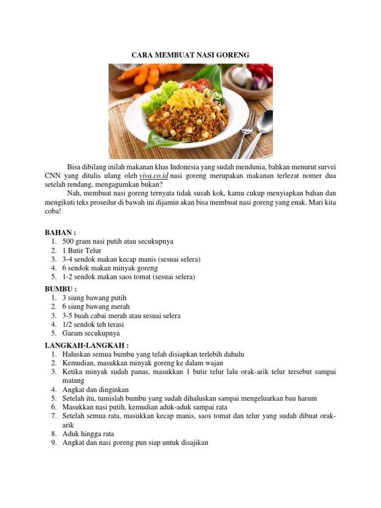 Contoh Teks Prosedur Membuat Makanan Just4udakar Com