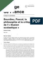 À Temps et à Contretemps - Bourdieu, Pascal, la Philosophie et la critique de l'«Illusion Scolastique» - Collège de France