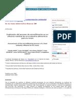 Evaluación del proceso de microfiltración en un efluente residual de una industr