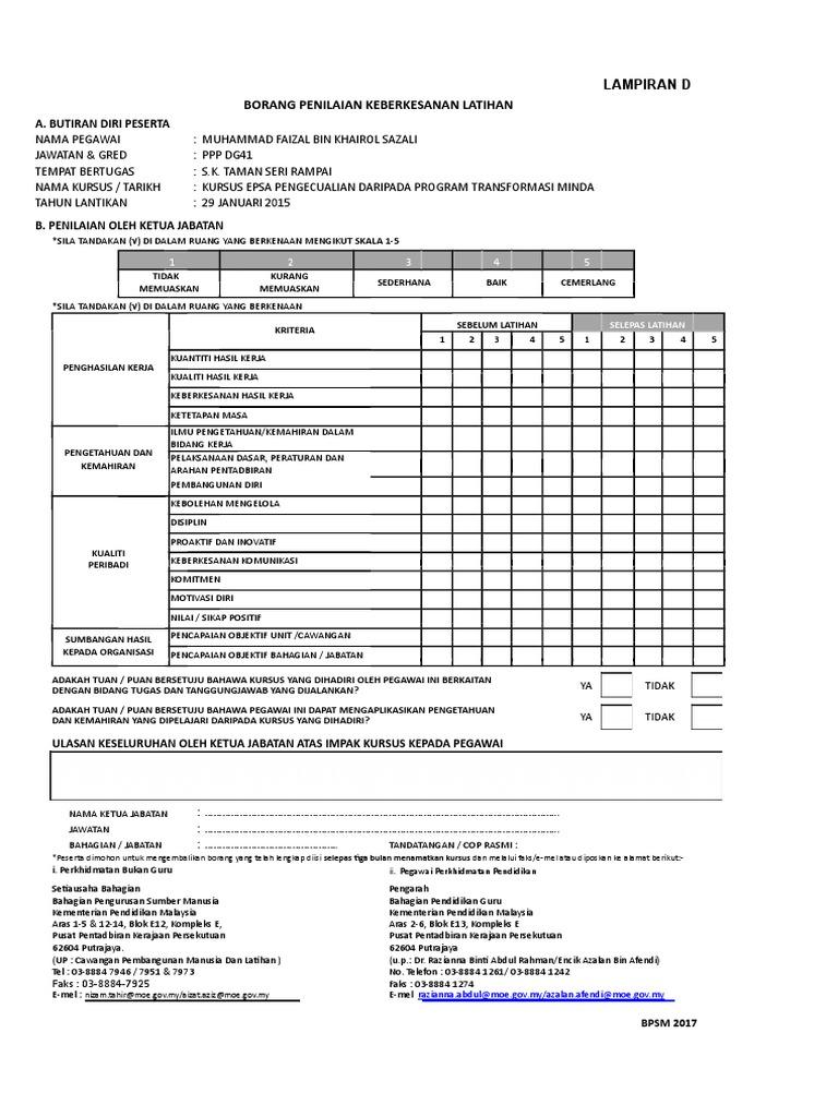 Lampiran D Borang Keberkesanan Latihan Doc