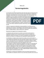 Tema 22 Termorregulación.