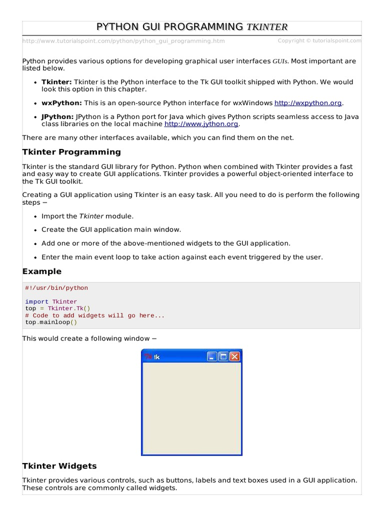 Python Tkinter Programming Pdf