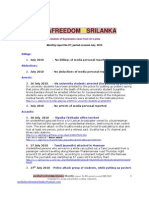 Media Freedom Sri Lank A Monthly Report - No 07 - July 2010
