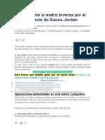 Cálculo de La Matriz Inversa Por El Método de Gauss