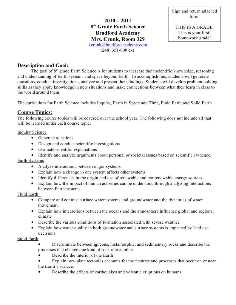 8th Science Syllabus Crunk