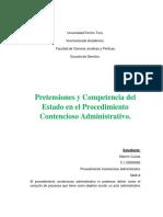 Pretensiones y Competencia Del Estado en El Procedimiento Contencioso Administrativo.