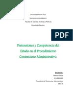 Pretensiones y Competencia Del Estado en El Procedimiento Contencioso Administrativo