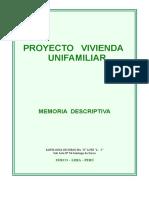 Proyecto Vivienda Unifamiliar Memoria de Surco- Velasquez