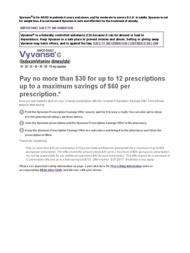 Coupon- Vyvanse | Medicamentos con receta | Cuidado de la salud