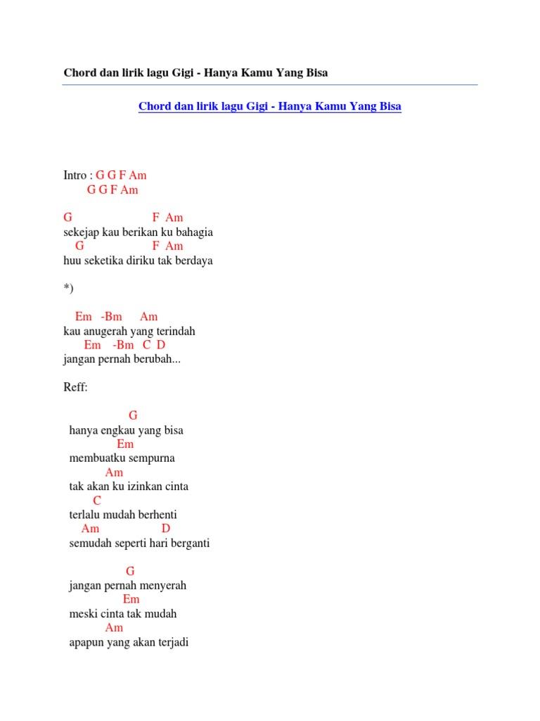 Chord Dan Lirik Lagu Gigi Hanya Kamu Yang Bisa