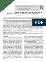 Quantitative Estimation of Ascorbic Acid Levels in Citrus Fruits at Variable Temperatures and Physicochemical Properties